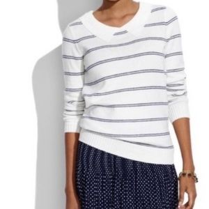 Madewell White Stripped Collared Warm Sweater Size Small